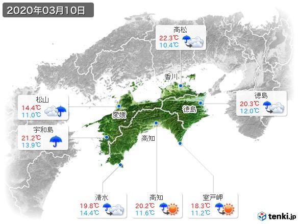 四国地方(2020年03月10日の天気