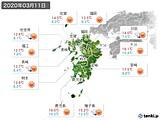 2020年03月11日の九州地方の実況天気