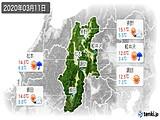 2020年03月11日の長野県の実況天気