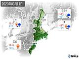 2020年03月11日の三重県の実況天気