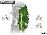 2020年03月11日の岩手県の実況天気