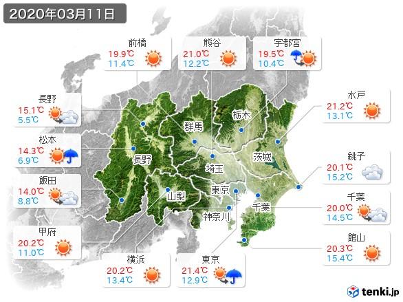 関東・甲信地方(2020年03月11日の天気
