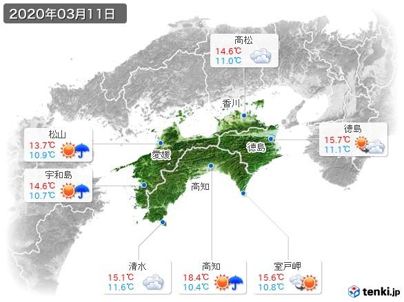 四国地方(2020年03月11日の天気