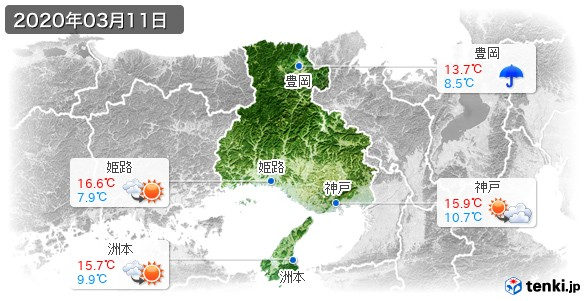 兵庫県(2020年03月11日の天気