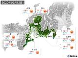 2020年03月12日の東海地方の実況天気
