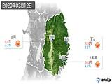 2020年03月12日の岩手県の実況天気