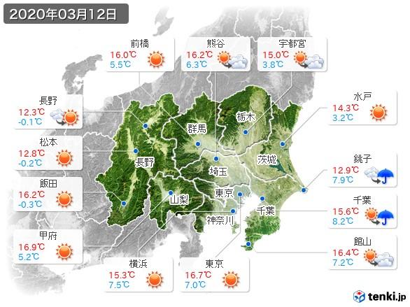 関東・甲信地方(2020年03月12日の天気