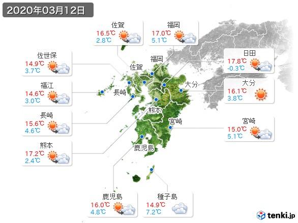 九州地方(2020年03月12日の天気