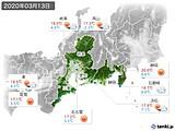 2020年03月13日の東海地方の実況天気