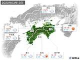 2020年03月13日の四国地方の実況天気
