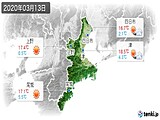 2020年03月13日の三重県の実況天気