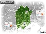 2020年03月13日の岡山県の実況天気