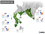 2020年03月13日の道南の実況天気