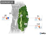 2020年03月13日の岩手県の実況天気