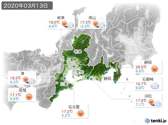 東海地方(2020年03月13日の天気