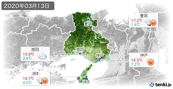 兵庫県(2020年03月13日の天気