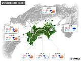 2020年03月14日の四国地方の実況天気