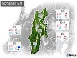 2020年03月14日の長野県の実況天気