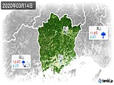 2020年03月14日の岡山県の実況天気