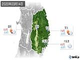 2020年03月14日の岩手県の実況天気