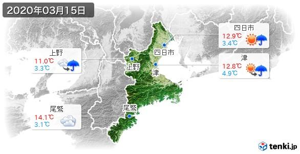 三重県(2020年03月15日の天気