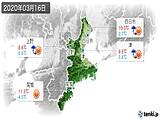 2020年03月16日の三重県の実況天気