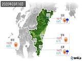 2020年03月16日の宮崎県の実況天気