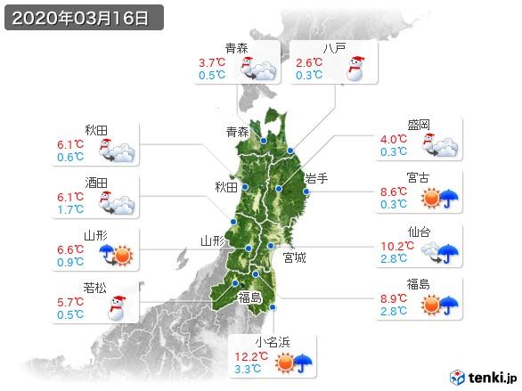 東北地方(2020年03月16日の天気