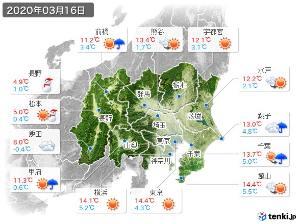 関東・甲信地方(2020年03月16日の天気