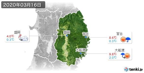 岩手県(2020年03月16日の天気