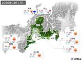 2020年03月17日の東海地方の実況天気