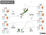 2020年03月17日の沖縄県の実況天気