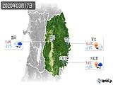 2020年03月17日の岩手県の実況天気