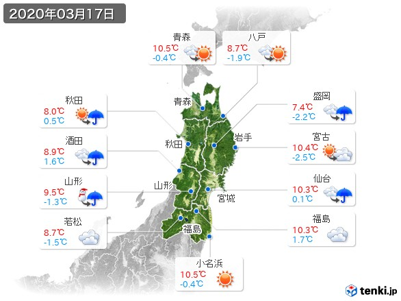 東北地方(2020年03月17日の天気