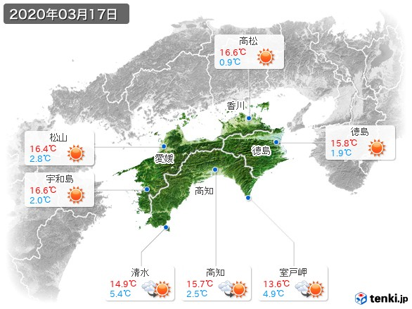 四国地方(2020年03月17日の天気