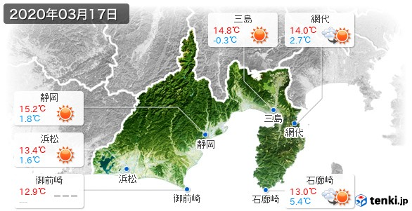静岡県(2020年03月17日の天気