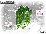 2020年03月18日の岡山県の実況天気