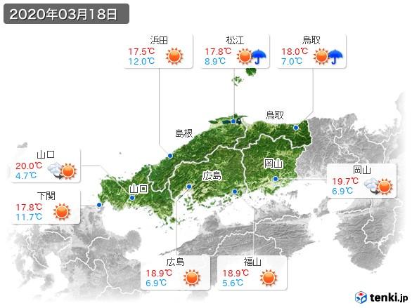 中国地方(2020年03月18日の天気