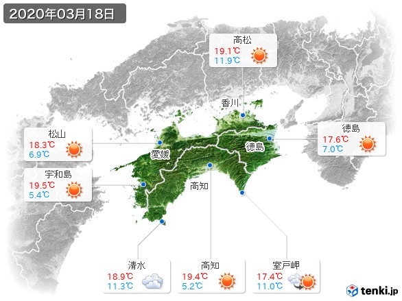 四国地方(2020年03月18日の天気