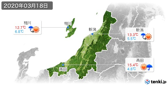 新潟県(2020年03月18日の天気