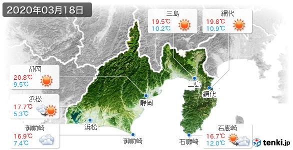 静岡県(2020年03月18日の天気