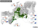 2020年03月19日の東海地方の実況天気