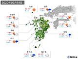 2020年03月19日の九州地方の実況天気