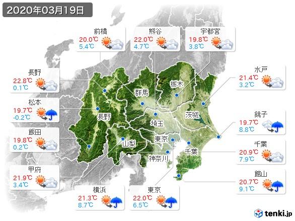 関東・甲信地方(2020年03月19日の天気