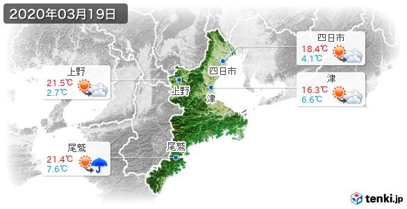 三重県(2020年03月19日の天気
