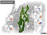 2020年03月20日の長野県の実況天気