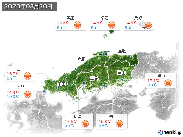 中国地方(2020年03月20日の天気