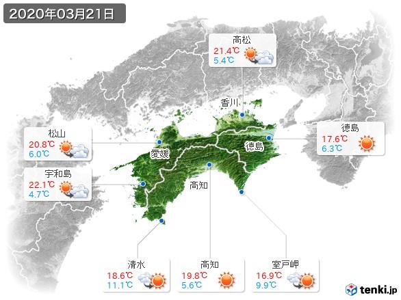 四国地方(2020年03月21日の天気