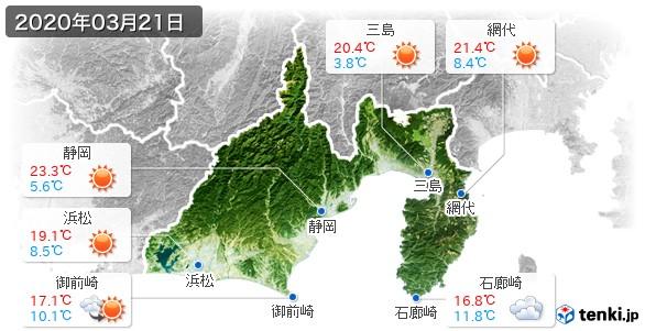 静岡県(2020年03月21日の天気
