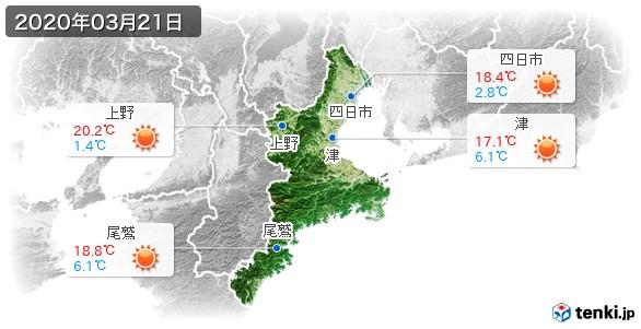 三重県(2020年03月21日の天気